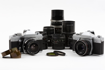 Old photo cameras with lenses