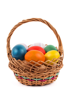 Easter eggs in a basket photo