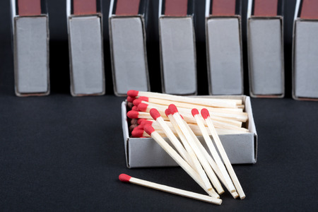 unlit: Matches in a box Stock Photo