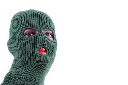 Green balaclava mask on manikins head Stock Photo