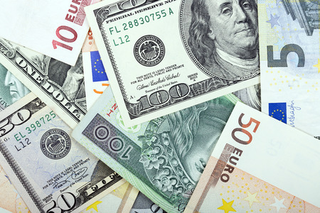 50 dollar bill: Money - the background of different currencies Stock Photo