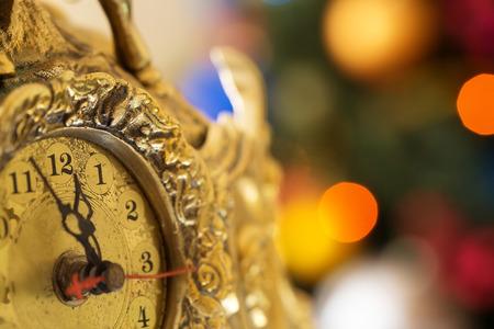 midnight: Happy New Year, clock before midnight Stock Photo