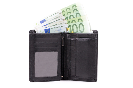 european money: Wallet with European money on a white background