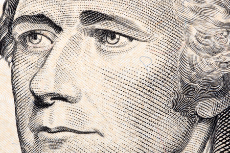 Alexander Hamilton, a close-up portrait on the US dollars