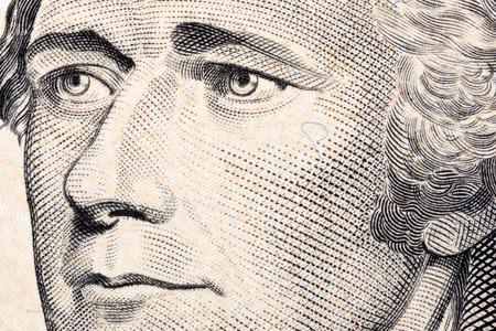 Alexander Hamilton, een close-up portret op het Amerikaanse dollars Stockfoto