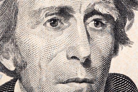 andrew: Andrew Jackson a close-up portrait on twenty US dollars Stock Photo