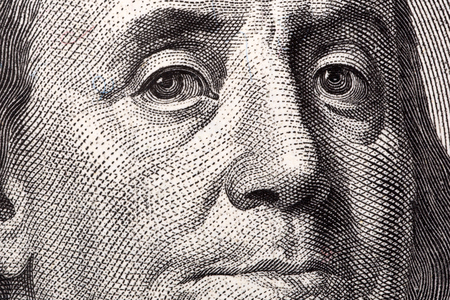 ben franklin: Benjamin Franklin, the close-up portrait on US hundred dollars