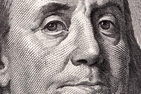 ben franklin money: Benjamin Franklin, the close-up portrait on US hundred dollars
