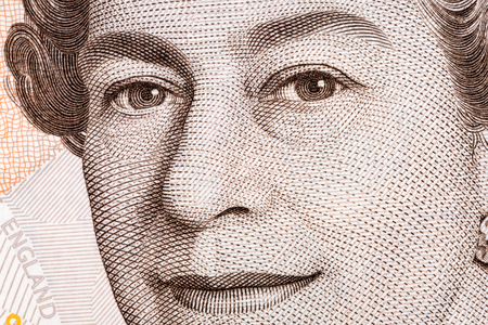 Queen Elizabeth II the close-up portrait on the UK pounds