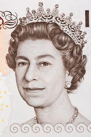 Koningin Elizabeth II een portret op de Britse tien pond Stockfoto