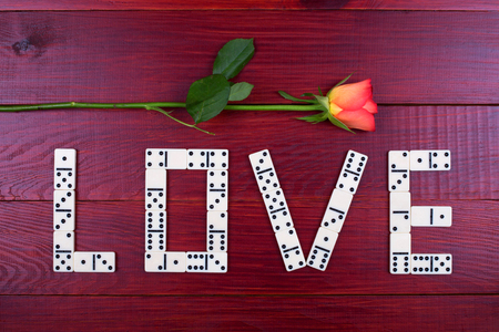 risky love: Word love with dominoes