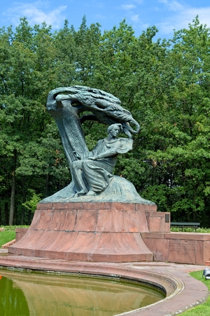 The Chopin Statue in Warsaws Royal Baths Park in Poland
