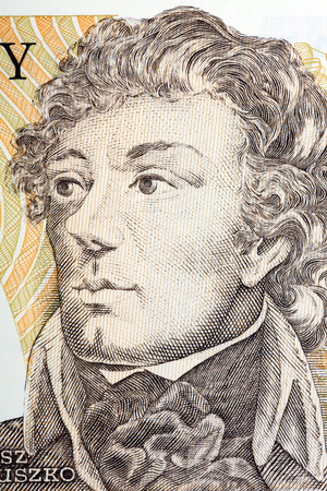 zloty: Tadeusz Kosciuszko portrait from Polish old five hundred zloty Stock Photo