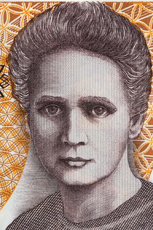 Het portret van Marie Curie Sklodowska uit oude twintigduizend zloty