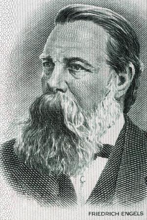 portret Friedrich Engels uit oud Duits geld Redactioneel