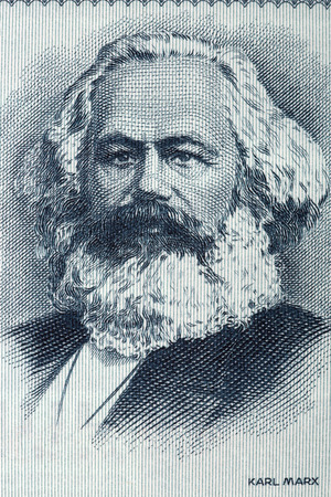 sociologist: Karl Marx portrait from old German money