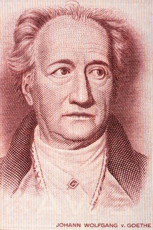 Johann Wolfgang von Goethe portret van oud Duits geld