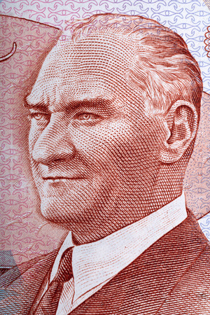 turkish lira: Mustafa Kemal Ataturk portrait from Turkish Lira Stock Photo