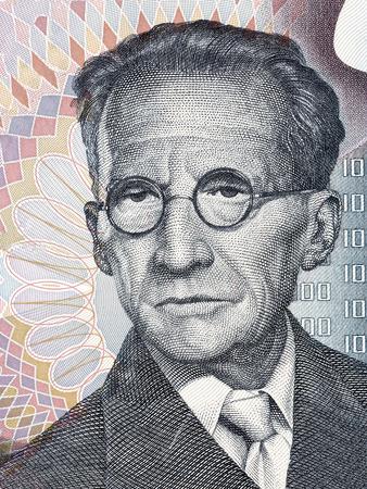 Erwin Schrodinger portrait from Austrian money 免版税图像