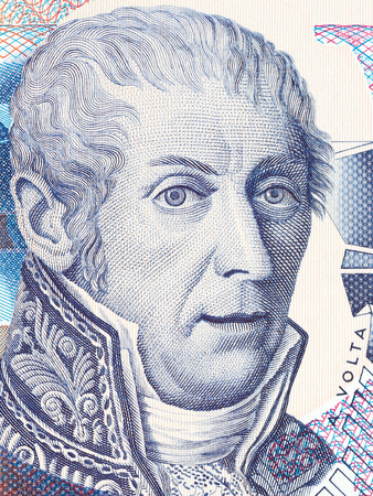 Alessandro Volta portrait from Italian money