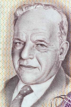 Hayim Nahman Bialik portrait from Israeli money Stock Photo