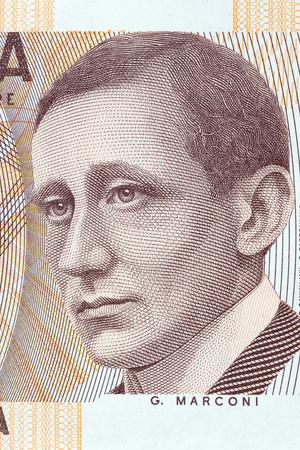 Guglielmo Marconi portrait from Italian money