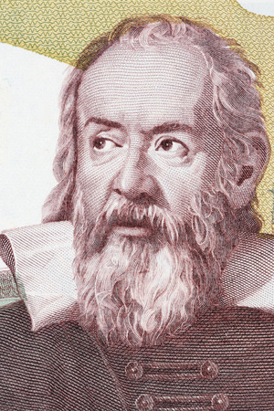 Galileo Galilei portrait from Italian money