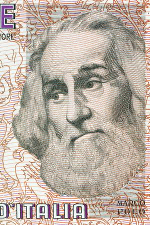 Ritratto Marco Polo dal denaro italiano Archivio Fotografico - 75843850