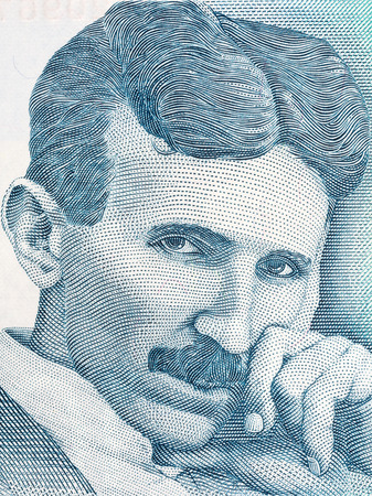 Nikola Tesla portrait from Serbian money