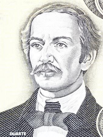 Juan Pablo Duarte portret van Dominicaanse geld Redactioneel