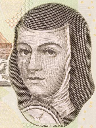 Juana de Asbaje portrait from Mexican money