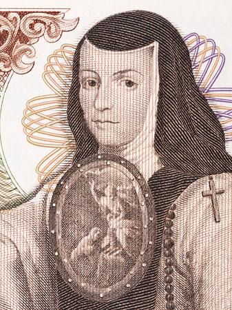 Juana de Asbaje portrait from old Mexican money
