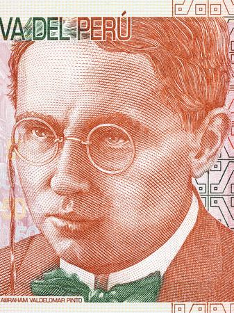 Abraham Valdelomar portrait from Peruvian money Stock Photo