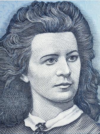 Lydia Koidula portrait from Estonian money Editöryel