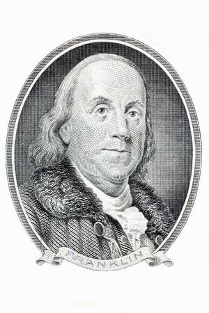 Benjamin Franklin portrait on a white background