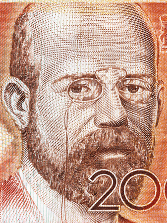 Leopoldo Alas portrait from Spanish money Editorial