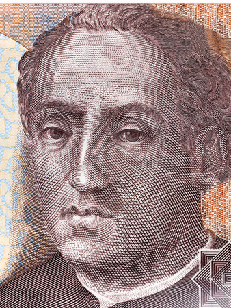 Christopher Columbus portrait from Spanish money