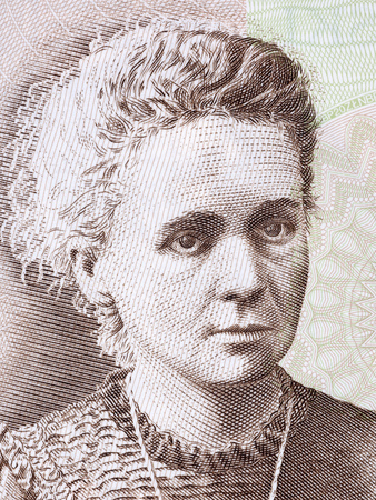 Marie Sklodowska Curie portrait from Polish money Editorial