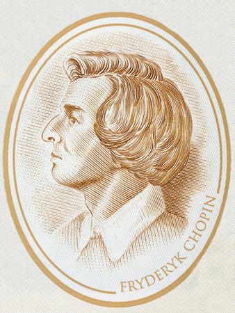 Frederic Chopin portrait from Polish money 写真素材