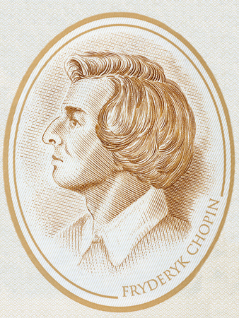 Frederic Chopin portrait from Polish money 写真素材