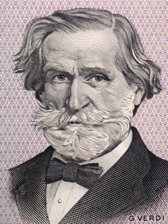 Giuseppe Verdi portrait from Italian money Redakční