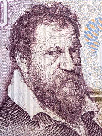 Lambert Lombard portrait from Belgian money 에디토리얼