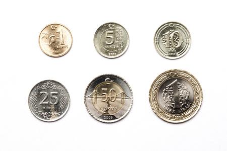 Turkish coins on a white background Stok Fotoğraf