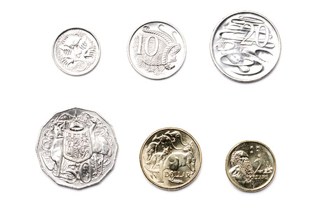 Australian coins on a white background 版權商用圖片