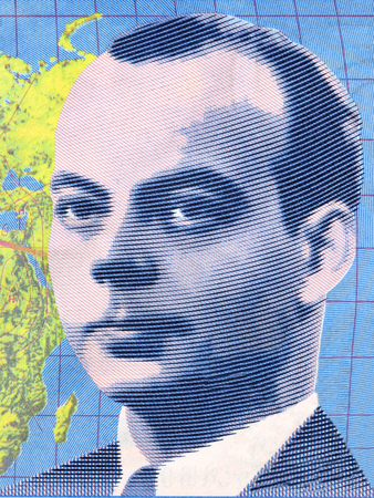 Antoine de Saint-Exupery portrait from French money