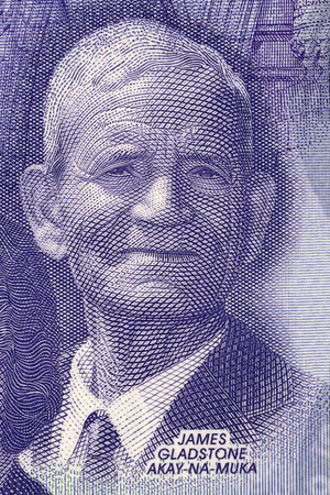 James Gladstone portrait from Canadian money Editorial
