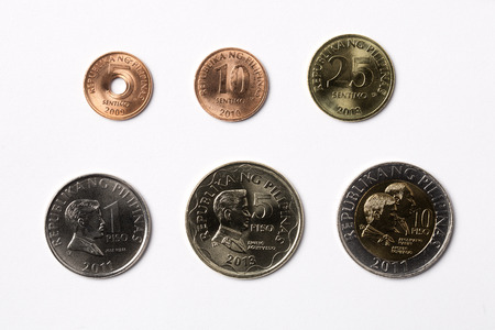 Philippine coins on a white background