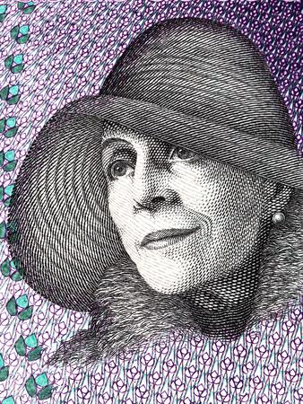 Karen Blixen portrait from Danish money 스톡 콘텐츠