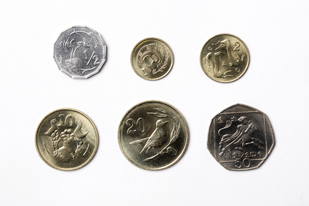 Coins from Cyprus on a white background
