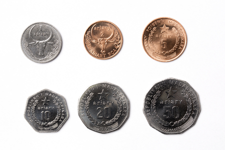 Coins from Madagascar on a white background Фото со стока
